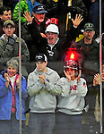 9 January 2011: UVM fans celebrate a home team goal during a game between the Boston University Terriers and the University of Vermont Catamounts at Gutterson Fieldhouse in Burlington, Vermont. The Terriers defeated the Catamounts 4-2 in Hockey East play. Mandatory Credit: Ed Wolfstein Photo