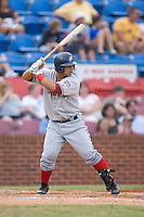 Jhonatan Solano (20) of the Potomac Nationals at bat at Ernie Shore Field in Winston-Salem, NC, Saturday August 9, 2008. (Photo by Brian Westerholt / Four Seam Images)