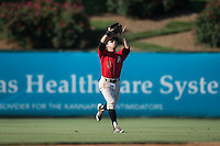 Kannapolis Intimidators center fielder Tyler Sullivan (5) makes a running catch during the game against the Greenville Drive at Intimidators Stadium on June 7, 2016 in Kannapolis, North Carolina.  The Drive defeated the Intimidators 4-1 in game one of a double header.  (Brian Westerholt/Four Seam Images)