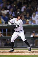 Casey Gillaspie (13) of the Charlotte Knights at bat against the Scranton/Wilkes-Barre RailRiders at BB&T BallPark on April 12, 2018 in Charlotte, North Carolina.  The RailRiders defeated the Knights 11-1.  (Brian Westerholt/Four Seam Images)