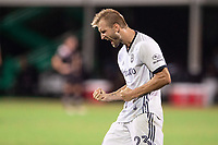LAKE BUENA VISTA, FL - JULY 14: Kacper Przybylko #23 of the Philadelphia Union celebrates a goal during a game between Inter Miami CF and Philadelphia Union at Wide World of Sports on July 14, 2020 in Lake Buena Vista, Florida.