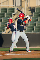 Rhett Wiseman (8) of the Hagerstown Suns at bat against the Kannapolis Intimidators at Kannapolis Intimidators Stadium on May 4, 2016 in Kannapolis, North Carolina.  The Intimidators defeated the Suns 7-4.  (Brian Westerholt/Four Seam Images)