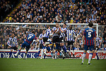 Sheffield Wednesday 2 Crystal Palace 2, 02/05/2010. Hillsborough. Championship. Crystal Palace's Darren Ambrose blast a free kick into the Sheffield Wednesday wall at Hillsborough during the crucial last-day relegation match. The match ended in a 2-2 draw which meant Wednesday were relegated to League 1. Crystal Palace remained in the Championship despite having been deducted 10 points for entering administration during the season. Photo by Colin McPherson.