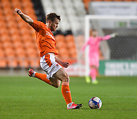Blackpool's Jordan Thorniley<br /> <br /> Photographer Dave Howarth/CameraSport<br /> <br /> EFL Trophy - Northern Section - Group G - Blackpool v Leeds United U21 - Wednesday 11th November 2020 - Bloomfield Road - Blackpool<br />  <br /> World Copyright © 2020 CameraSport. All rights reserved. 43 Linden Ave. Countesthorpe. Leicester. England. LE8 5PG - Tel: +44 (0) 116 277 4147 - admin@camerasport.com - www.camerasport.com