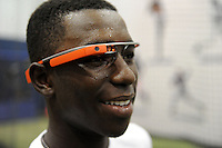 Under Armour All-American selection Nick Gordon of Olympia High School in Orlando, Florida wears Google Glasses before a drill at the University of Illinois at Chicago on August 22, 2013 in Chicago, Illinois in preparation for the Under Armour All-American Game that will take place at Wrigley Field on August 24th.  (Mike Janes/Four Seam Images)