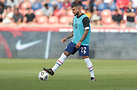 SANDY, UT - JUNE 10: DeAndre Yedlin #22 of the United States warming up during a game between Costa Rica and USMNT at Rio Tinto Stadium on June 10, 2021 in Sandy, Utah.
