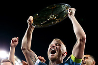 22nd May 2021, Melbourne, Australia;  Scott Jamieson of Melbourne City holds up the Premier's Plate during the Hyundai A-League football match between Melbourne City FC and Central Coast Mariners at AAMI Park in Melbourne, Australia.