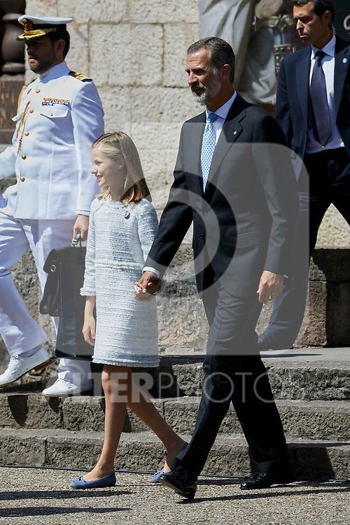 Princess Leonor of Spain and King Felipe VI of Spain visit Covadonga, Spain. September 08, 2018. (ALTERPHOTOS/A. Perez Meca)