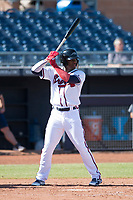 Peoria Javelinas right fielder Ronald Acuna (34), of the Atlanta Braves organization, at bat during a game against the Scottsdale Scorpions on October 19, 2017 at Peoria Stadium in Peoria, Arizona. The Scorpions defeated the Javelinas 13-7.  (Zachary Lucy/Four Seam Images)