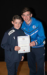 St Johnstone FC Academy Awards Night...06.04.15  Perth Concert Hall<br /> Craig Thomson presents a certificate to Gregor Fullarton<br /> Picture by Graeme Hart.<br /> Copyright Perthshire Picture Agency<br /> Tel: 01738 623350  Mobile: 07990 594431