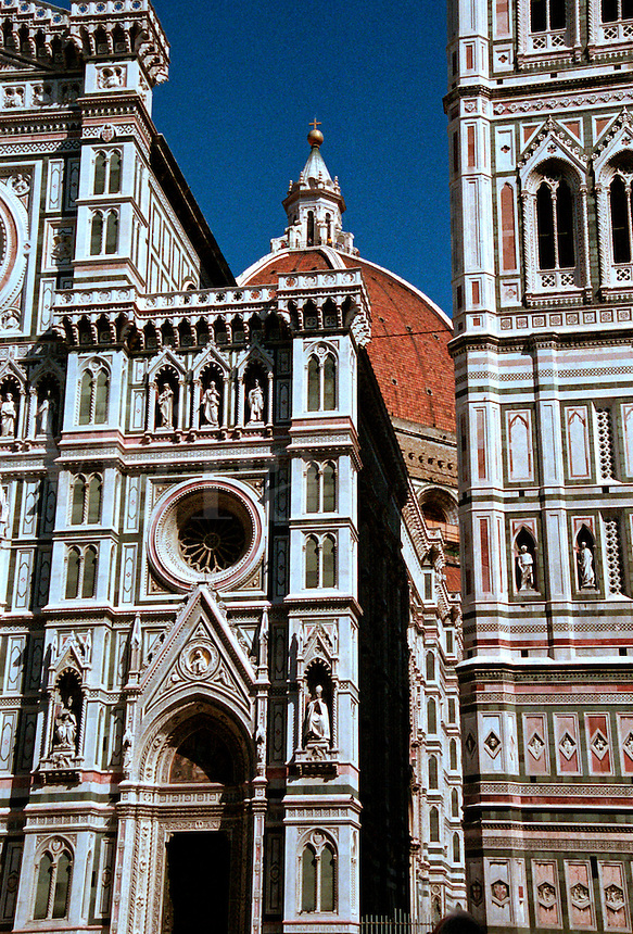 Detail of the Catholic church Santa Maria del Fiore, the Duome, in Florence, Italy