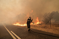 Pictured: Firefighters fighting the blaze in Varibobi, Athens, Greece. Tuesday 03 August 2021<br /> Re: Forest fire in Varibobi, on the outskirts of Athens, Greece.