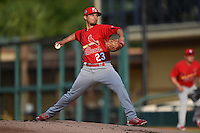 Palm Beach Cardinals pitcher Arturo Reyes (23) delivers a pitch during a game against the Lakeland Flying Tigers on April 13, 2015 at Joker Marchant Stadium in Lakeland, Florida.  Palm Beach defeated Lakeland 4-0.  (Mike Janes/Four Seam Images)