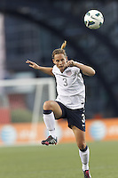 USWNT defender Christie Rampone (3) collects a pass.  In an international friendly, the U.S. Women's National Team (USWNT) (white/blue) defeated Korea Republic (South Korea) (red/blue), 4-1, at Gillette Stadium on June 15, 2013.