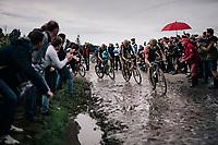 Guillaume Boivin (CAN/Israel Start-Up Nation) ahead of Florian Vermeersch (BEL/Lotto Soudal) & Mathieu van der Poel (NED/Alpecin-Fenix)<br /> <br /> 118th Paris-Roubaix 2021 (1.UWT)<br /> One day race from Compiègne to Roubaix (FRA) (257.7km)<br /> <br /> ©kramon