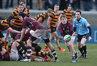 CAI vs RBAI | Tuesday 3rd March 2015<br /> <br /> Bruce Campbell gets the ball away during the 2015 Ulster Schools Cup Semi-Final between Coleraine Inst and RBAI at the Kingspan Stadium, Ravenhill Park, Belfast, Northern Ireland.<br /> <br /> Picture credit: John Dickson / DICKSONDIGITAL