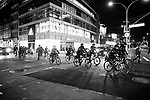 NEW YORK, NY — OCTOBER 27, 2020:  NYPD officers on bicycles follow a group of demonstrators marching in a protest against police brutality, in response to the shooting of Walter Wallace Jr. by Philadelphia police officers the prior day, on October 27, 2020 in New York City.  The confrontation, recorded on a now viral video posted to social media, shows Wallace, a 27 year-old Black man who family members said was in the midst of a mental health crisis, holding a knife as two police officers shot and killed him.  Photograph by Michael Nagle