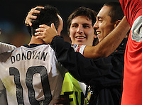 Landon Donovan receives post-match congratulations from teammates and staff. The United States won Group C of the 2010 FIFA World Cup in dramatic fashion, 1-0, over Algeria in Pretoria's Loftus Versfeld Stadium, Wednesday, June 23rd..