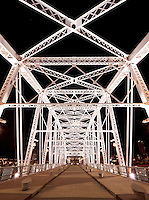 Shelby Street Pedestrian Bridge at night, Nashville Riverfront