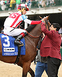 May 04, 2019 : #3 Digital Age (IRE) and Irad Ortiz Jr. win the 28th running of The American Turf Grade 2 $400,000 for owner Kiaravich Stables and trainer Chad Brown at Churchill Downs on May 04, 2019.  Candice Chavez/ESW/CSM