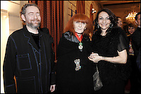 French designer Sonia Rykiel,Natalie Rykiel and Charles-Philippe Rykiel.<br /> French president Nicolas Sarkozy with French designers Jean-Louis Scherrerand Sonia Rykiel during the ceremony Officer and Commandeur of the Legion d'Honneur at the Elysee presidential Palace in Paris