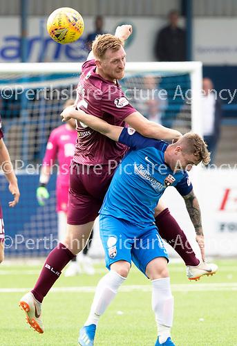 Montrose v St Johnstone…21.07.18…  Links Park    League Cup<br />Liam Craig gets above Danny Cavanagh<br />Picture by Graeme Hart. <br />Copyright Perthshire Picture Agency<br />Tel: 01738 623350  Mobile: 07990 594431