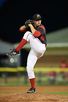 Batavia Muckdogs relief pitcher RJ Peace (25) delivers a pitch during a game against the Williamsport Crosscutters on August 3, 2017 at Dwyer Stadium in Batavia, New York.  Williamsport defeated Batavia 2-1.  (Mike Janes/Four Seam Images)