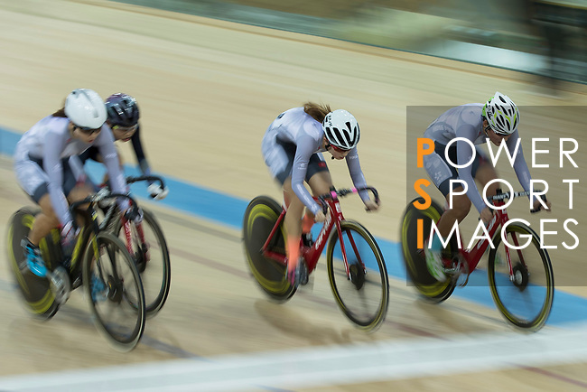 Yang Qianyu (C) and Pang Yao (R) of the IND competes in the Women Elite - Pointe Race 20km Final category during the  Hong Kong Track Cycling National Championships 2017 at the Hong Kong Velodrome on 18 March 2017 in Hong Kong, China. Photo by Chris Wong / Power Sport Images