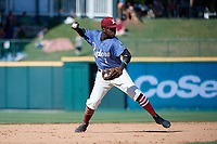 Frisco RoughRiders Michael De Leon (1) throws to first base during a Texas League game against the Amarillo Sod Poodles on May 19, 2019 at Dr Pepper Ballpark in Frisco, Texas.  (Mike Augustin/Four Seam Images)
