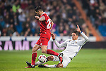 "Raphael Varane (r) of Real Madrid competes for the ball with Victor Machin Perez ""Vitolo"" of Sevilla FC in action during their Copa del Rey Round of 16 match between Real Madrid and Sevilla FC at the Santiago Bernabeu Stadium on 04 January 2017 in Madrid, Spain. Photo by Diego Gonzalez Souto / Power Sport Images"