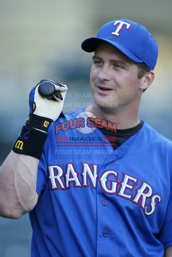 Todd Hollandsworth of the Texas Rangers before a 2002 MLB season game against the Los Angeles Angels at Angel Stadium, in Los Angeles, California. (Larry Goren/Four Seam Images)