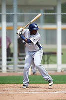 GCL Rays second baseman Juan Carlos Arias (31) at bat during the first game of a doubleheader against the GCL Red Sox on August 9, 2016 at JetBlue Park in Fort Myers, Florida.  GCL Rays defeated GCL Red Sox 5-4.  (Mike Janes/Four Seam Images)