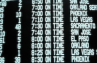 Flight schedule on monitor at airport