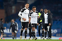 14th February 2021, Doddison Park, Liverpool, England;  Fulhams Kenny Tete and Bobby De Cordova-Reid walk off the pitch after the Premier League match between Everton and Fulham at Goodison Park in Liverpool