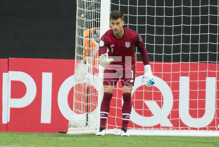 ZAPOPAN, MEXICO - MARCH 21: JT Marcinkowski #1 of the United States during a game between Dominican Republic and USMNT U-23 at Estadio Akron on March 21, 2021 in Zapopan, Mexico.