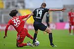 v.li.: Joshua Zirkzee (Bayern München, FCB, 35) Adam Hlousek (Kaiserslautern, 14) im Zweikampf, Duell, duel, tackle, Dynamik, Action, Aktion beim Spiel in der 3. Liga, FC Bayern München II -1. FC Kaiserslautern.<br /> <br /> Foto © PIX-Sportfotos *** Foto ist honorarpflichtig! *** Auf Anfrage in hoeherer Qualitaet/Aufloesung. Belegexemplar erbeten. Veroeffentlichung ausschliesslich fuer journalistisch-publizistische Zwecke. For editorial use only. DFL regulations prohibit any use of photographs as image sequences and/or quasi-video.