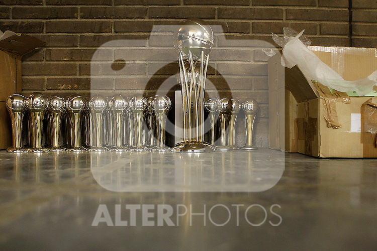 Champion trophies await in stock before the start of  Spanish Basketball King's Cup Final match.February 19,2012. (ALTERPHOTOS/ALFAQUI/Acero)