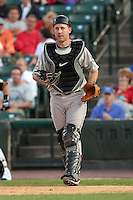August 12 2008:  Catcher Brian Jeroloman (19) of the Syracuse Chiefs, Class-AAA affiliate of the Toronto Blue Jays, during a game at Frontier Field in Rochester, NY.  Photo by:  Mike Janes/Four Seam Images