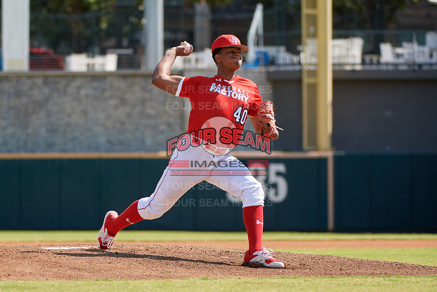 Pitcher Christian Little (40) during the Baseball Factory All-Star Classic at Dr. Pepper Ballpark on October 4, 2020 in Frisco, Texas.  Pitcher Christian Little (40), a resident of Ellisville, Missouri, attends Christian Brothers College High School.  (Mike Augustin/Four Seam Images)