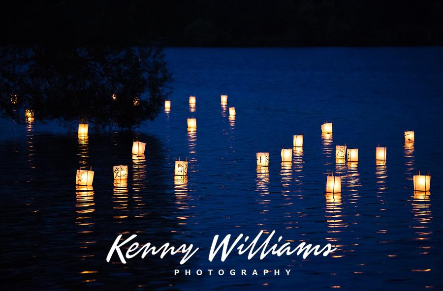 Toro Nagashi Lantern Floating Ceremony, From Hiroshima to Hope 2010, Green Lake, Seattle, Washington State, WA.