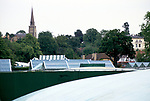 Wimbledon tennis 1980s, weather covers on the courts after the end of  play.  Wimbledon tennis championships.1985 St Mary's Church spire