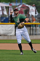 Clinton LumberKings third baseman Logan Taylor (14) throws to first base during the game against the Beloit Snappers at Ashford University Field on June 12, 2016 in Clinton, Iowa.  The LumberKings won 1-0.  (Dennis Hubbard/Four Seam Images)