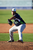 Vermont Lake Monsters pitcher Dawrin Frias (23) delivers a pitch during a game against the Batavia Muckdogs August 9, 2015 at Dwyer Stadium in Batavia, New York.  Vermont defeated Batavia 11-5.  (Mike Janes/Four Seam Images)