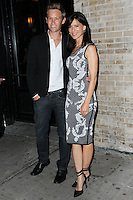 NEW YORK CITY, NY, USA - SEPTEMBER 03: Aaron Fox and Perrey Reeves arrives at the Flaunt Magazine Distress Issue Launch held at Gilded Lily on September 3, 2014 in New York City, New York, United States. (Photo by Jeffery Duran/Celebrity Monitor)