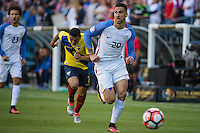 Seattle, WA - Thursday, June 16, 2016: United States defender Geoff Cameron (20) drives down the field during the Quarterfinal of the 2016 Copa America Centenrio at CenturyLink Field.