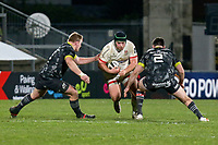 2nd January 2021   Ulster vs Munster <br /> <br /> Eric O'Sullivan is tackled by John Ryan and Niall Scannell during the PRO14 Round 10 clash between Ulster Rugby and Munster Rugby at the Kingspan Stadium, Ravenhill Park, Belfast, Northern Ireland. Photo by John Dickson/Dicksondigital