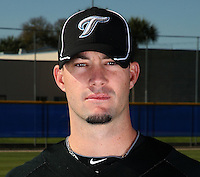 March 1, 2010:  Pitcher Josh Roenicke (17) of the Toronto Blue Jays poses for a photo during media day at Englebert Complex in Dunedin, FL.  Photo By Mike Janes/Four Seam Images