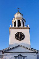 Church spire and clock tower, Lenox, Massachusetts, USA
