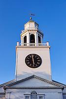 Church spire and clock tower, Lenox, Massachusetts, USA