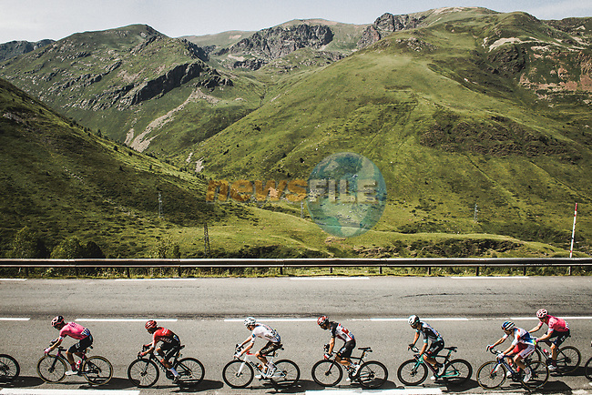 The breakaway during Stage 15 of the 2021 Tour de France, running 191.3km from Ceret to Andorre-La-Vieille, France. 11th July 2021.  <br /> Picture: A.S.O./Pauline Ballet | Cyclefile<br /> <br /> All photos usage must carry mandatory copyright credit (© Cyclefile | A.S.O./Pauline Ballet)